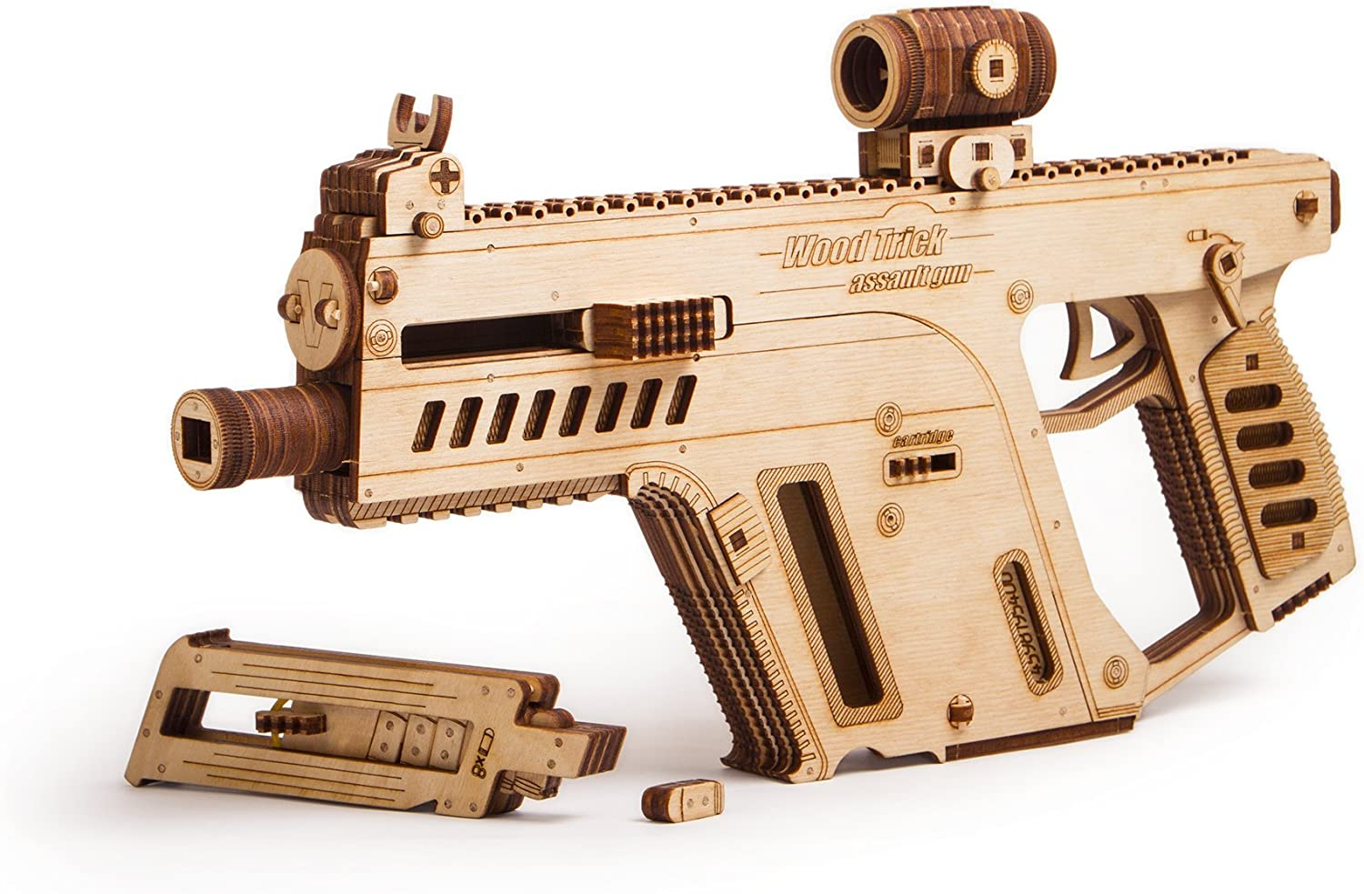 Amazon Com Wood Trick Assault Gun Wooden Model Kit For Adults And Teens To Build Toy Gun Guns For Kids 3d Wooden Puzzle Mechanical Model Toys Games