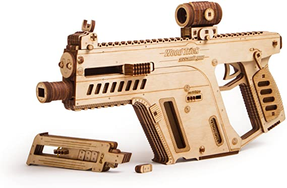 Wood Trick Assault Gun Wooden Model Kit for Adults and Teens to Build - Toy Gun