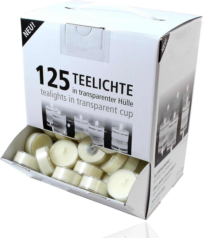 Bougies chauffe-plat avec une longue dur/ée de combustion Blanches avec une coque transparente Lot de 125 bougies dambiance Smart Planet/® dans un distributeur