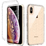 GUAGUA iPhone X Case iPhone Xs Case, Clear Glitter Bling Crystal Shiny Sparkly Cover for Girls Women Three Layer Hybrid Hard PC Soft TPU Bumper Shockproof Protective Phone Case for iPhone Xs/X