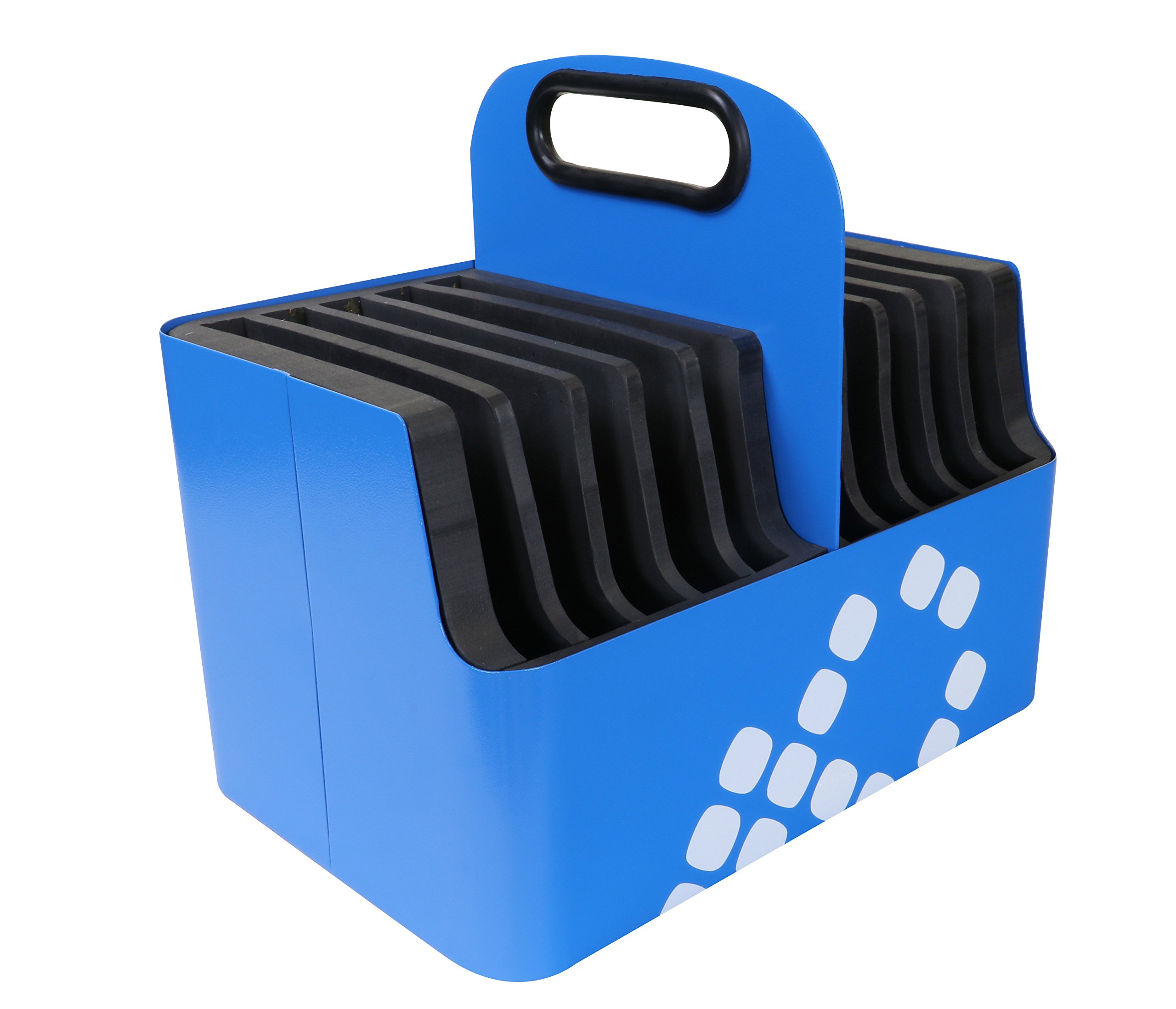 LocknCharge 10-Slot Aluminum Device Carry Basket - with Padded Slots, 8'' Height, 7'' Wide, 9'' Length, Blue (10025) by LocknCharge