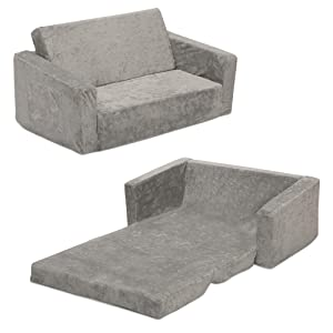 Serta Perfect Sleeper Extra Wide Convertible Sofa to Lounger - Comfy 2-in-1 Flip Open Couch/Sleeper for Kids, Grey