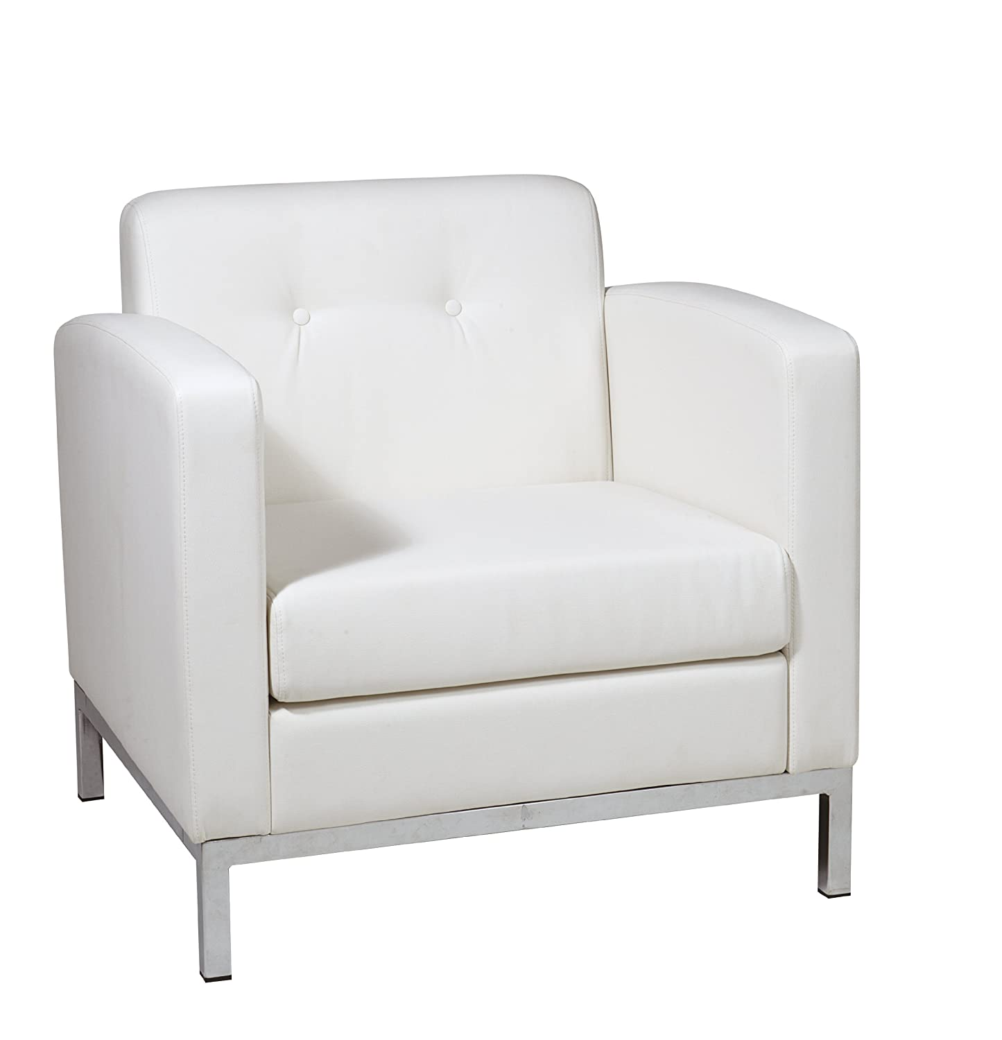 Amazon AVE SIX Wall Street Faux Leather Armchair with Chrome