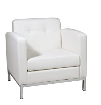 Good AVE SIX Wall Street Faux Leather Armchair With Chrome Finish Base, White