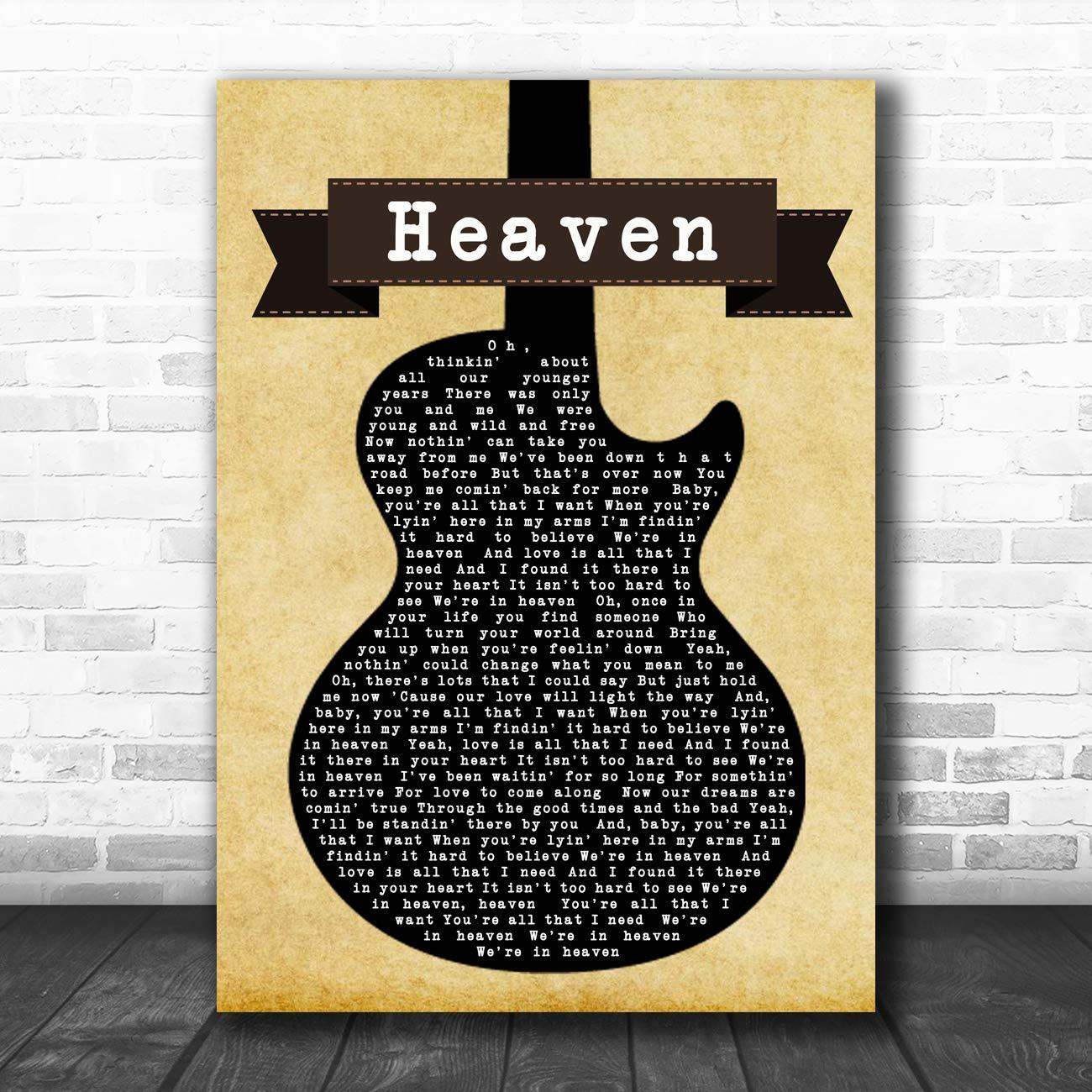 Cita de guitarra negra con impresión de la letra del cielo, Framed ...