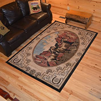 Amazon Com Rustic Lodge Western Horse 8x10 Brown Area Rug 7 10 X9