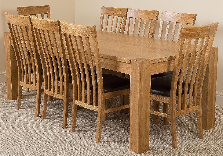 Kuba Chunky 220cm Cuisine Table de salle à manger en chêne massif avec 8chaises en chêne massif 100% chêne massif   220x 100cm   fabriqué à la main   rapide et sans