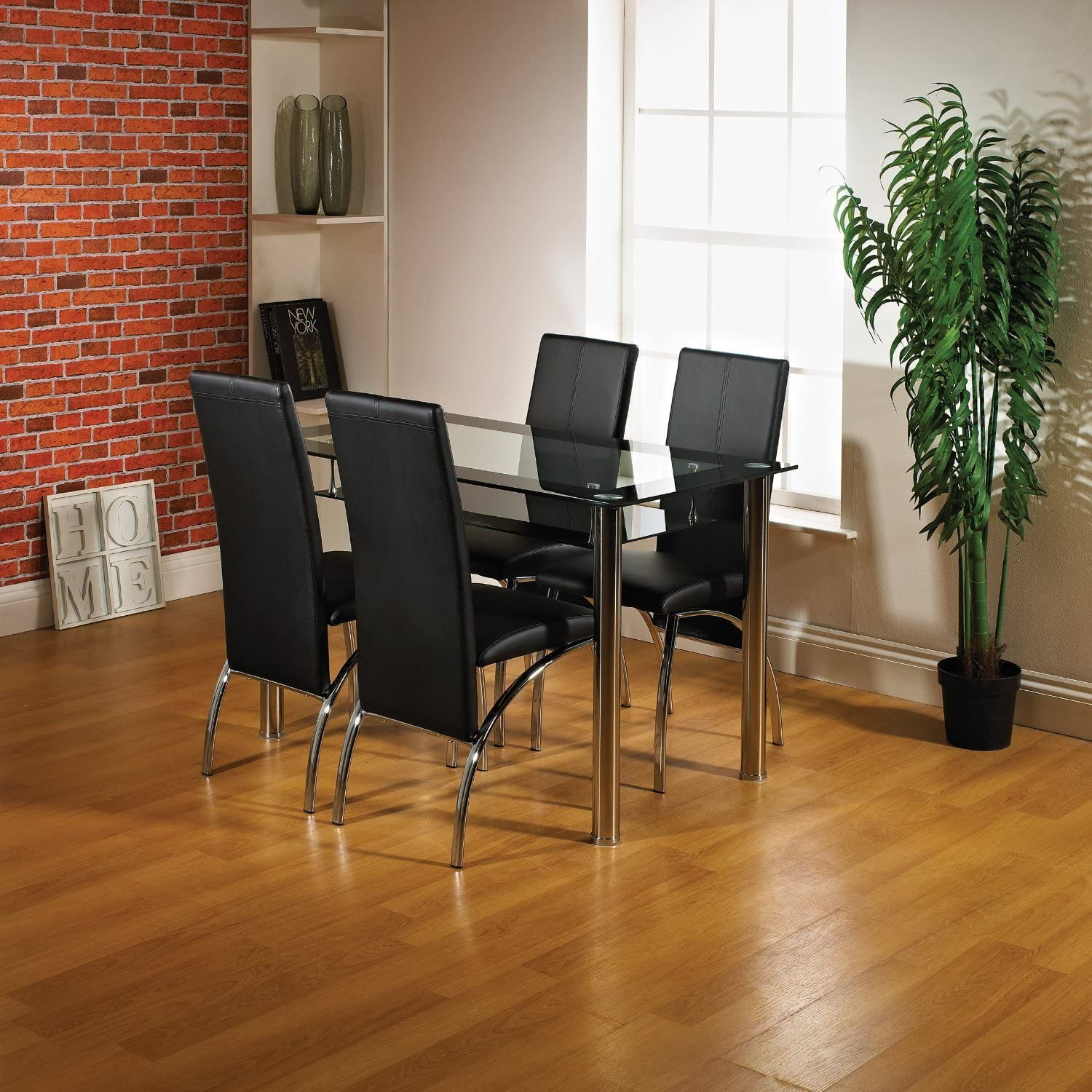 Modernique® Glass Dining Table and 4 Chairs set, Table size 80 cm with faux leather thick foam padded Chairs with Chrome Frame Available in Black (80 CM, Black) Black