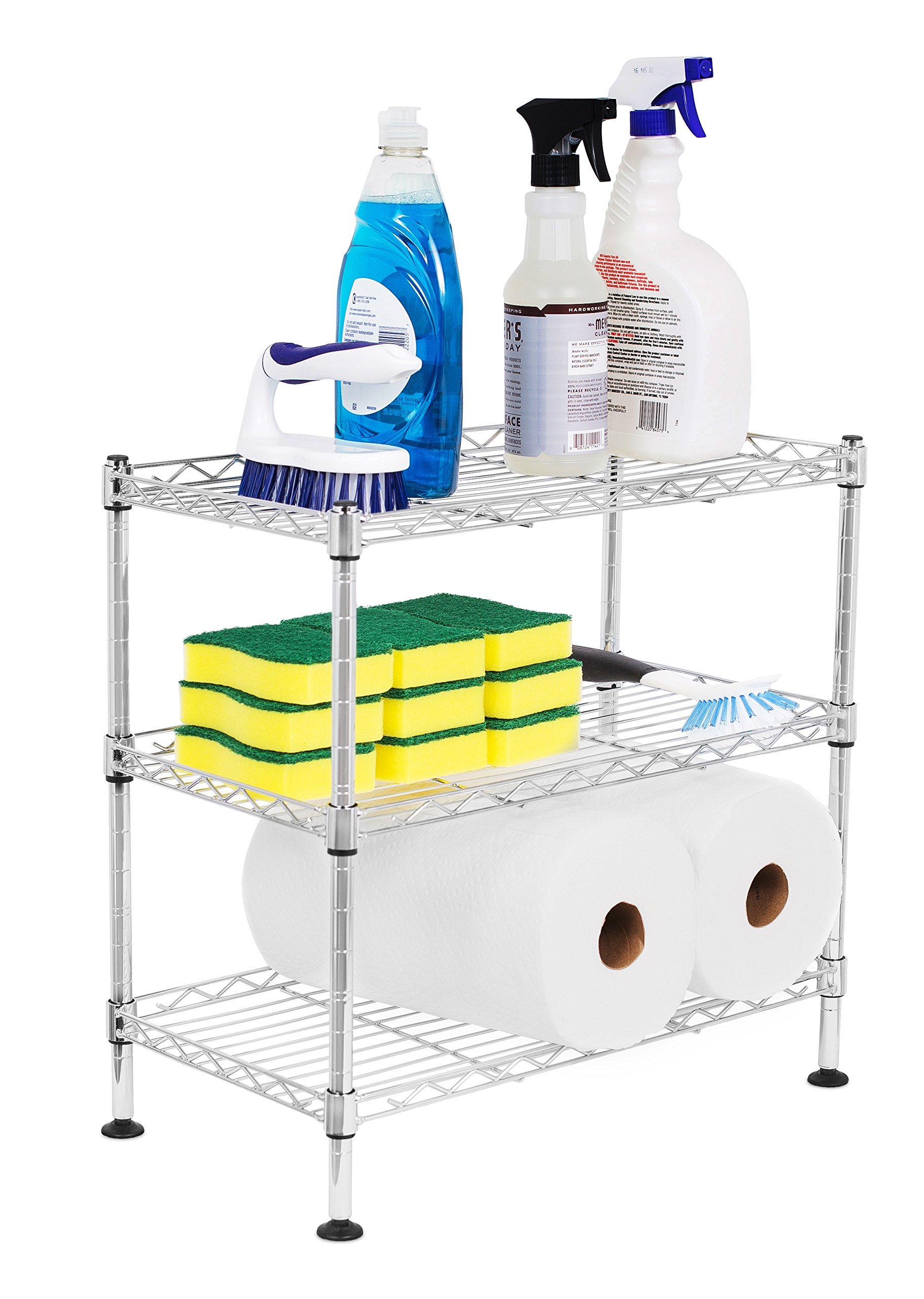 Internet's Best 3-Tier Mini Wire Utility Shelving | Chrome | Shelf | Adjustable Rack Unit | Kitchen Bathroom Pantry Laundry Storage | Under the Sink Organization | Organize your Cabinets | Spi by Internet's Best