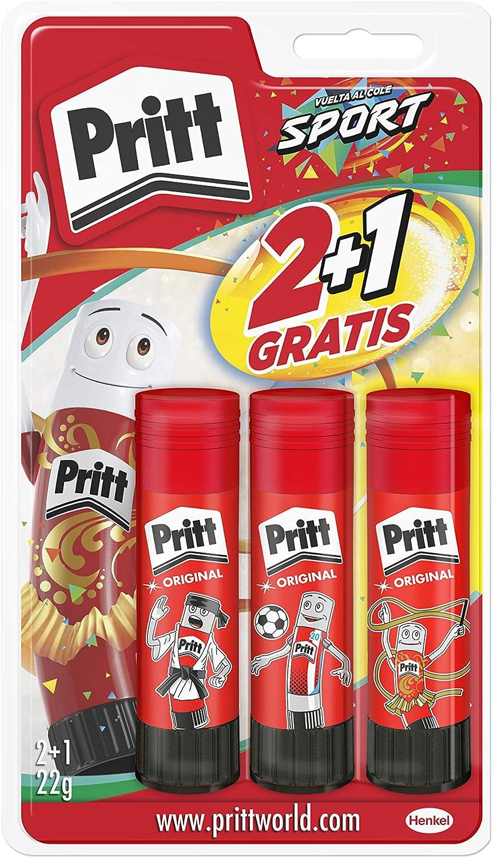 Pritt Barra Adhesiva, pegamento infantil seguro para niños para manualidades, cola universal de adhesión fuerte para estuche escolar y oficina, 2+1 x 22 g Pritt Stick: Amazon.es: Oficina y papelería