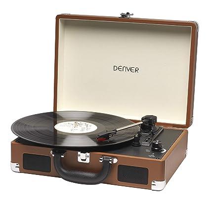 Tocadiscos Denver VPL-118 de Tres velocidades 33 1/3,45,78 RPM. Altavoces 2 W. Marrón.