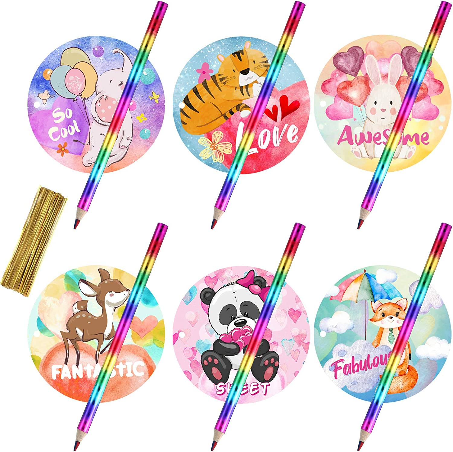 30 Set Valentine's Day Animal Cards with Rainbow Pencils for Kids, Animal Valentines Greeting Cards Animal Holiday Exchange Card Valentine Party Favor Toy, Valentines Classroom Exchange Party Supplies