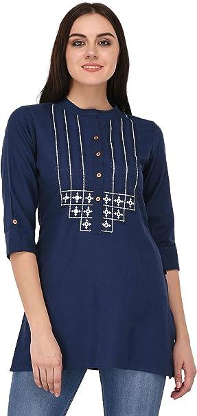 Pistaa women's Embroidered Cotton Short Top Kurti with Plus size Women's Kurtas & Kurtis at amazon