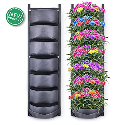 Richoose Vertical Hanging Garden Planter with 7 Pockets, New Upgrade Waterproof Wall Mount Planter Pouch Solution: Garden & Outdoor