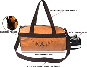 1f7c6fc357 Image Unavailable. Image not available for. Colour  AUXTER Premium  Leatherette Tan Gym Bag with Shoe Pocket (Emboss Logo)