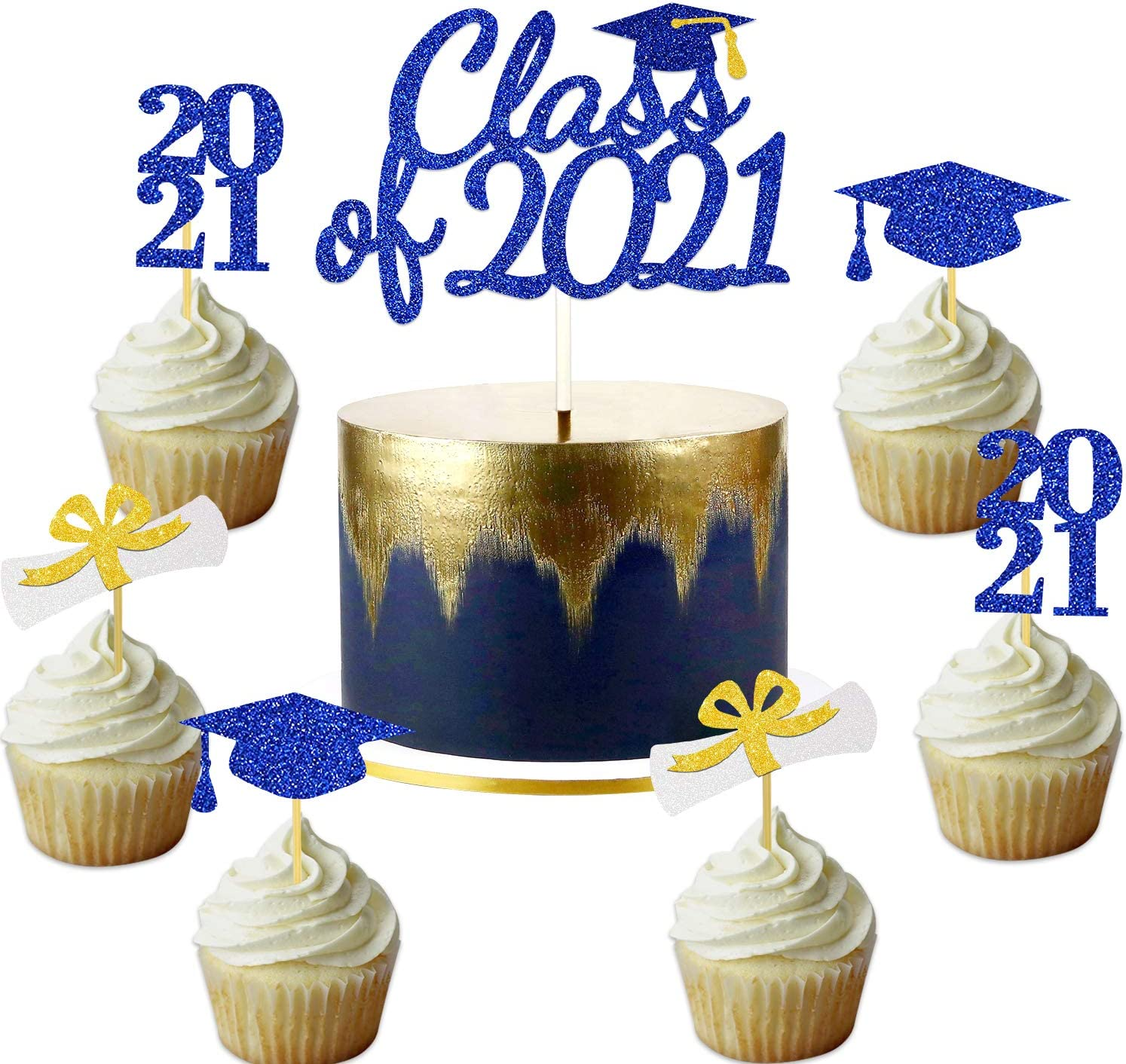 Blue Graduation Cake Cupcake Toppers Class of 2021 Gold Navy Blue White Glitter Grad Party Decoration Picks Congrats Cake Sign Supplies