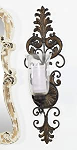 "Deco 79 Victorian-Style Metal and Glass Ornate Candle Sconce, 31"" H x 10"" L, Textured Bronze Finish"