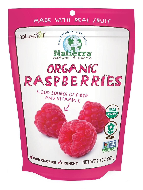 NATIERRA Nature's All Foods Organic Freeze-Dried Raspberries   Non-GMO & Vegan   1.3 Ounce