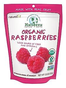 NATIERRA Nature's All Foods Organic Freeze-Dried Raspberries | Non-GMO & Vegan | 1.3 Ounce