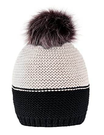 86ed79e4eb9 Womens Girls Winter Hat Wool Knitted Beanie With Large Pom Pom Cap Ski  Snowboard Hats Bobble