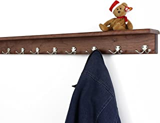 """product image for PegandRail Solid Cherry Shelf Coat Rack with Satin Nickel Double Style Hooks (Mahogany, 42"""" with 8 Hooks)"""