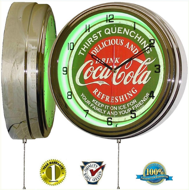 "Coca Cola 15"" Neon Wall Clock Lighted Distressed Sign Soda Pop Shop Coke Bottle Logo Vintage Retro Style Green"