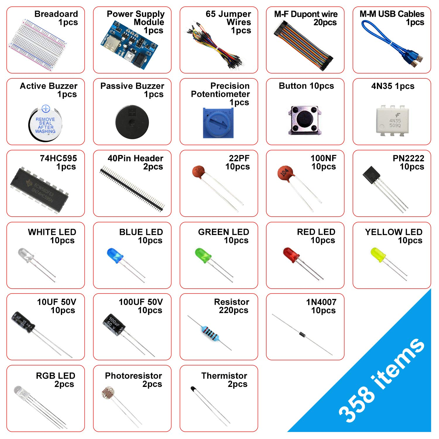 Jumper Wire LED,Resistor for Arduino Raspberry Pi REXQualis Electronics Basic Kit w//Power Supply Module Breadboard