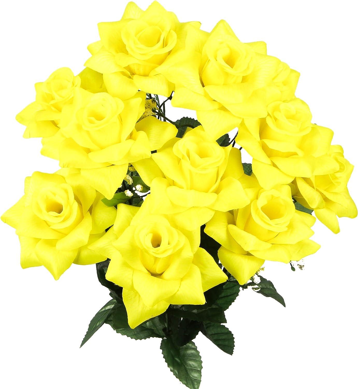 Admired By Nature GPB293-YELLOW 12 Stems Satin Rose Flowers Bush, Yellow, Piece