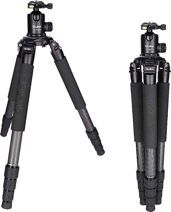 5 Rollei Rock Solid Alpha Mark Ii Inkl Kugelkopf T7s Carbon Professionelles Kamera Stativ Mit 30kg