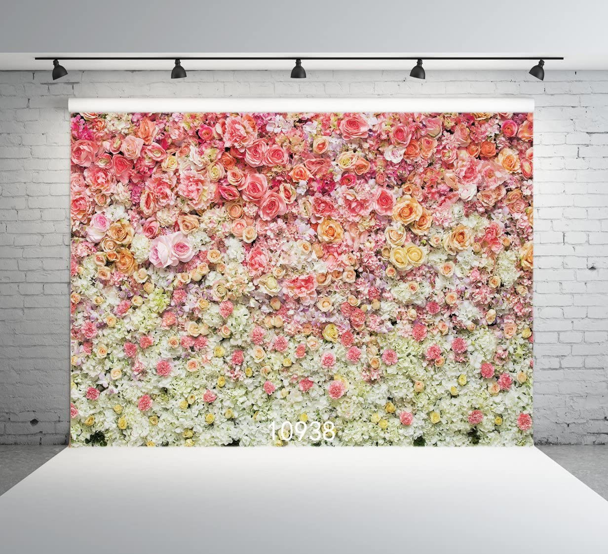 6x6FT Vinyl Wall Photography Backdrop,Floral,Abstract Modern Foliage Background for Baby Shower Bridal Wedding Studio Photography Pictures