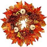Corona de otoño para puerta delantera, corona de calabaza de arce artificial de 19.7 pulgadas, decoración de otoño con hojas