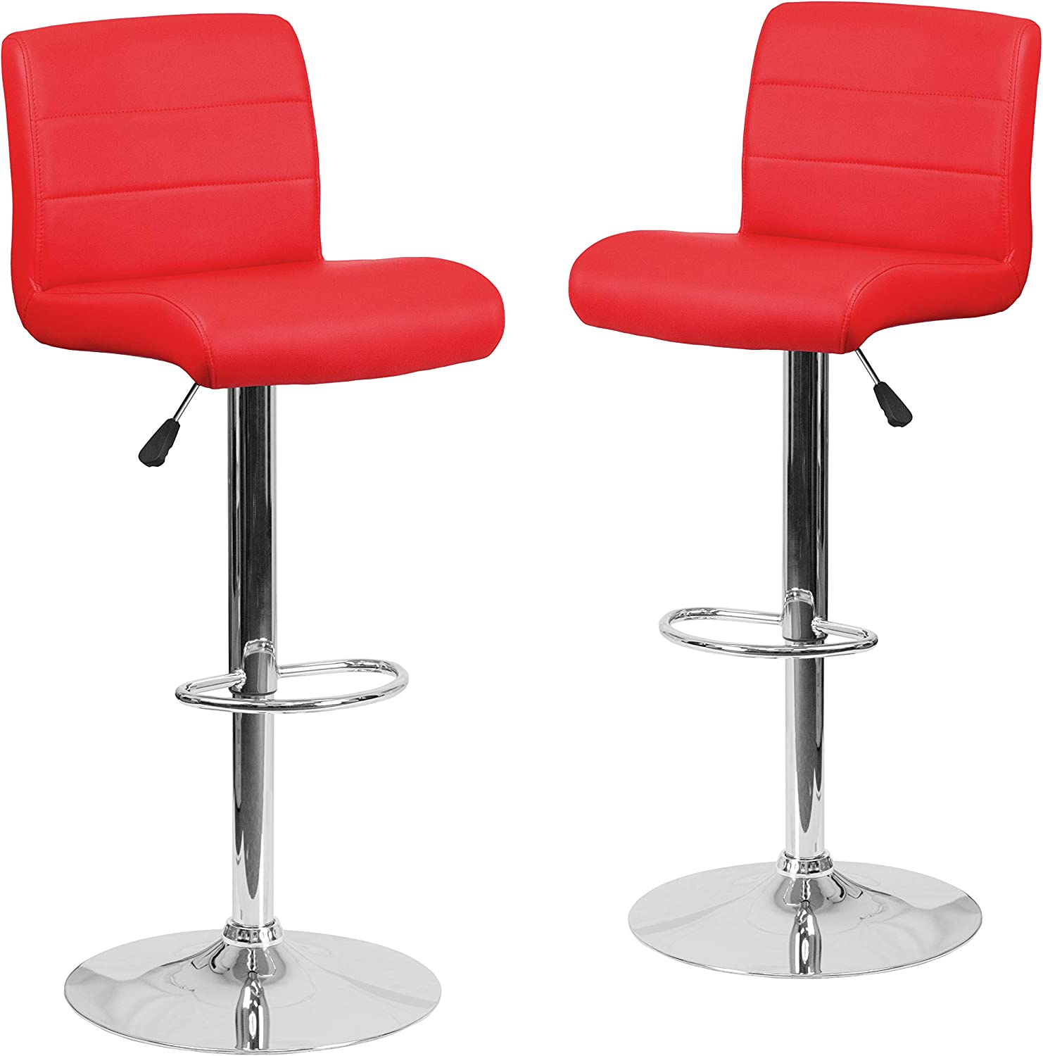 Flash Furniture 2 Pk. Contemporary Red Vinyl Adjustable Height Barstool with Rolled Seat and Chrome Base
