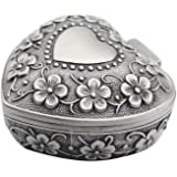 AVESON Classic Vintage Antique Heart Shape Jewelry Box Ring Small Trinket Jewellery Storage Organiser Chest Christmas Gift, Silver