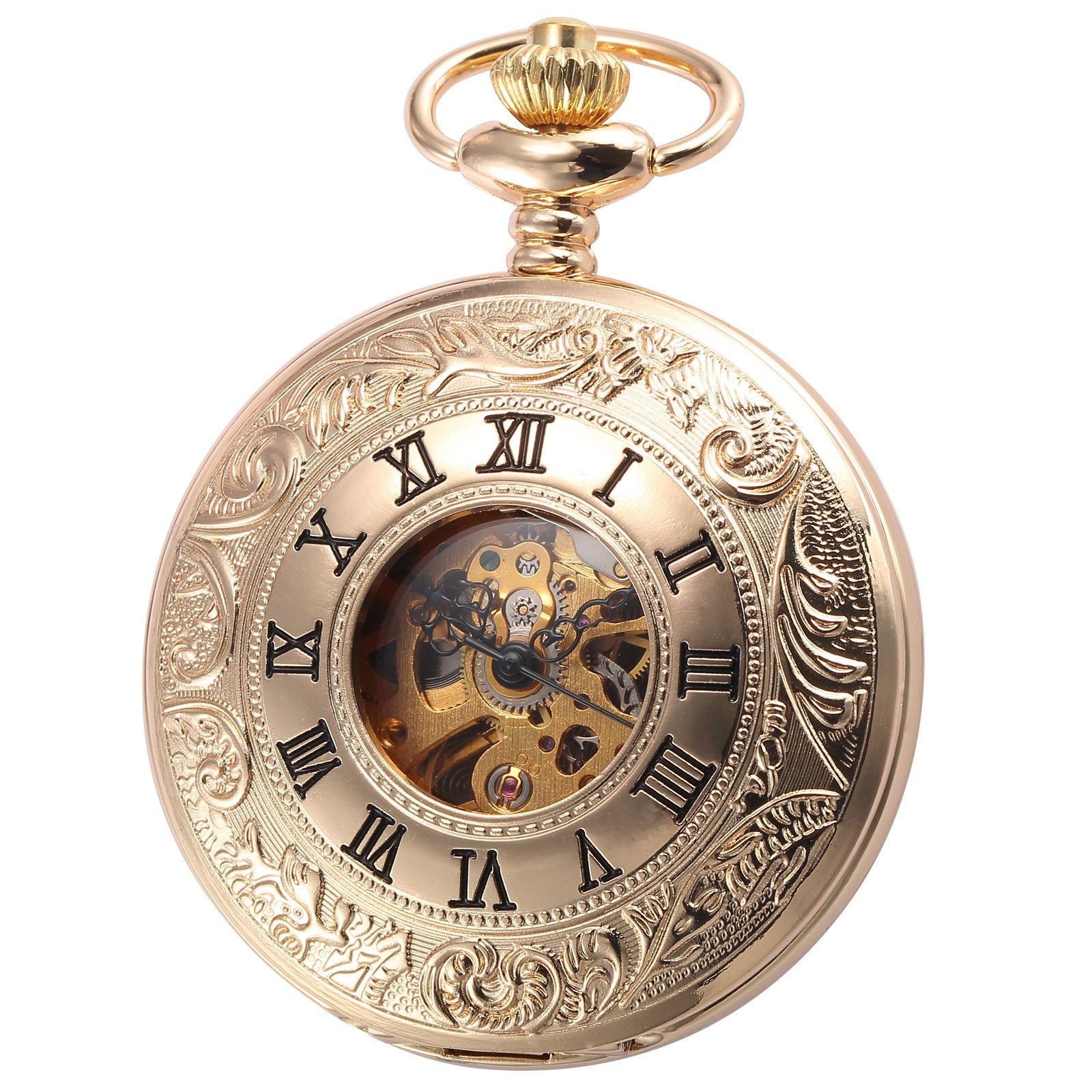 AMPM24 Mechanical Hand Wind Pocket Watch Skeleton Unisex Golden Case WPK188