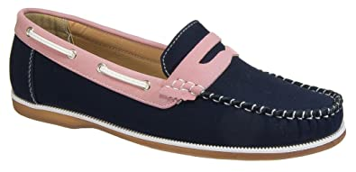 58e36fb6c6ab8 Coolers Shoreside Womens Ladies Deck Boat Shoes/Navy Pink Nubuck ...