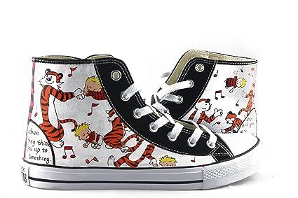 hand painted shoes Zapatos pintados a mano Hombres Mujeres Converse Todas las estrellas Calvin y Hobbes