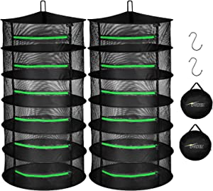 iPower 2ft 6-Layer Herb Drying Rack Breathable Mesh Hanging Dryer with Zippers Foldable Heavy Duty Ring for Garden Plant, Free Storage Bag and Hook Included, 6L 2-Pack, 2 Pack, Black