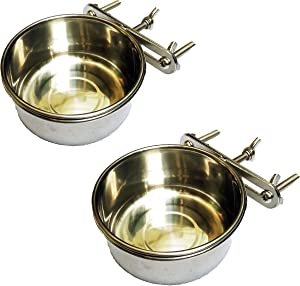 BobbyPet Multi-use Birds Food and Water Feeder No-Tipping Stainless Steel Suit for Birds and Small Animals. (2 Pack)
