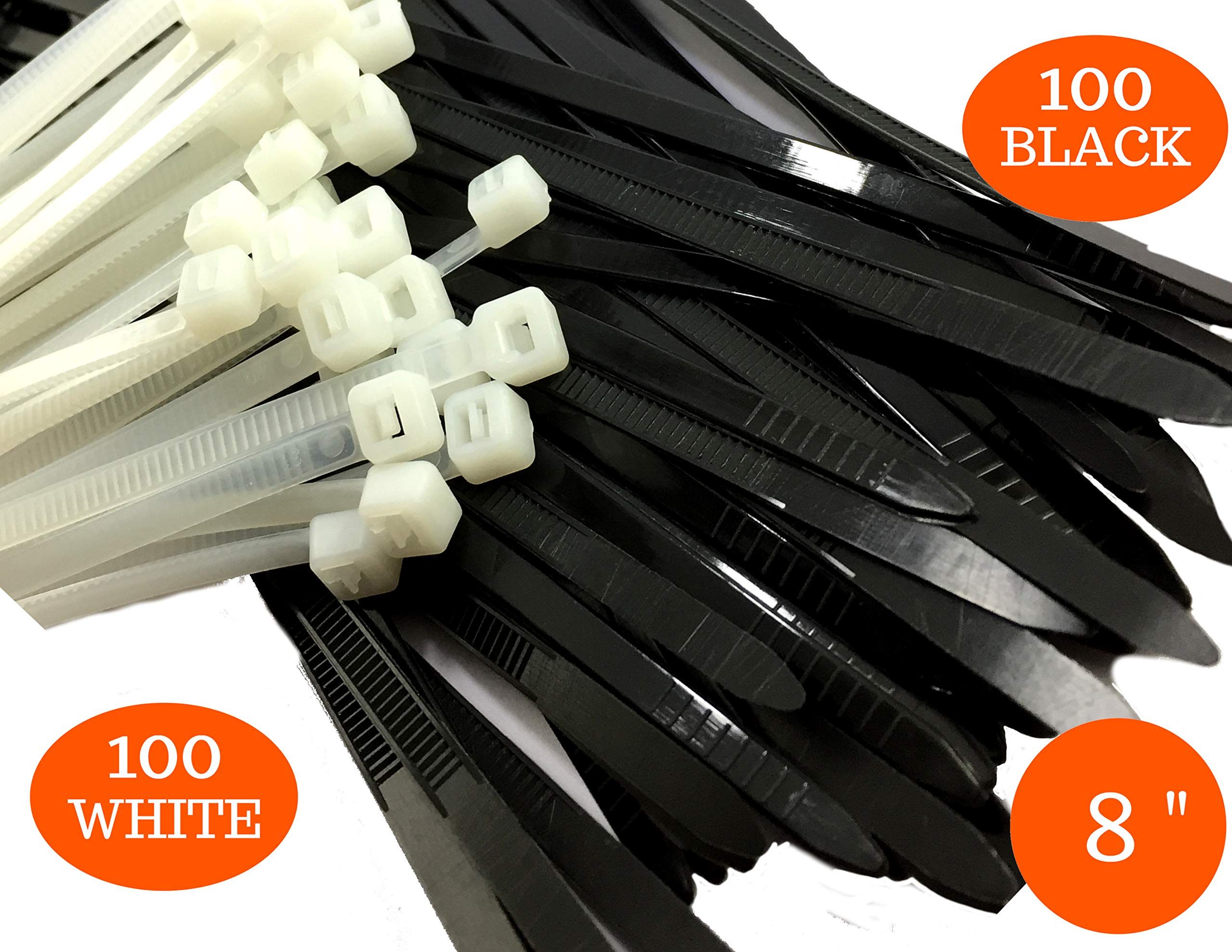 Zip Ties Heavy Duty 8 inch, Plastic Cable Ties Black/White with 100% UV Stabilized Nylon 6/6, with Strong 50 Lb Tensile Strength. Use it in Indoor and Outdoor Applications (Set 200 pcs)