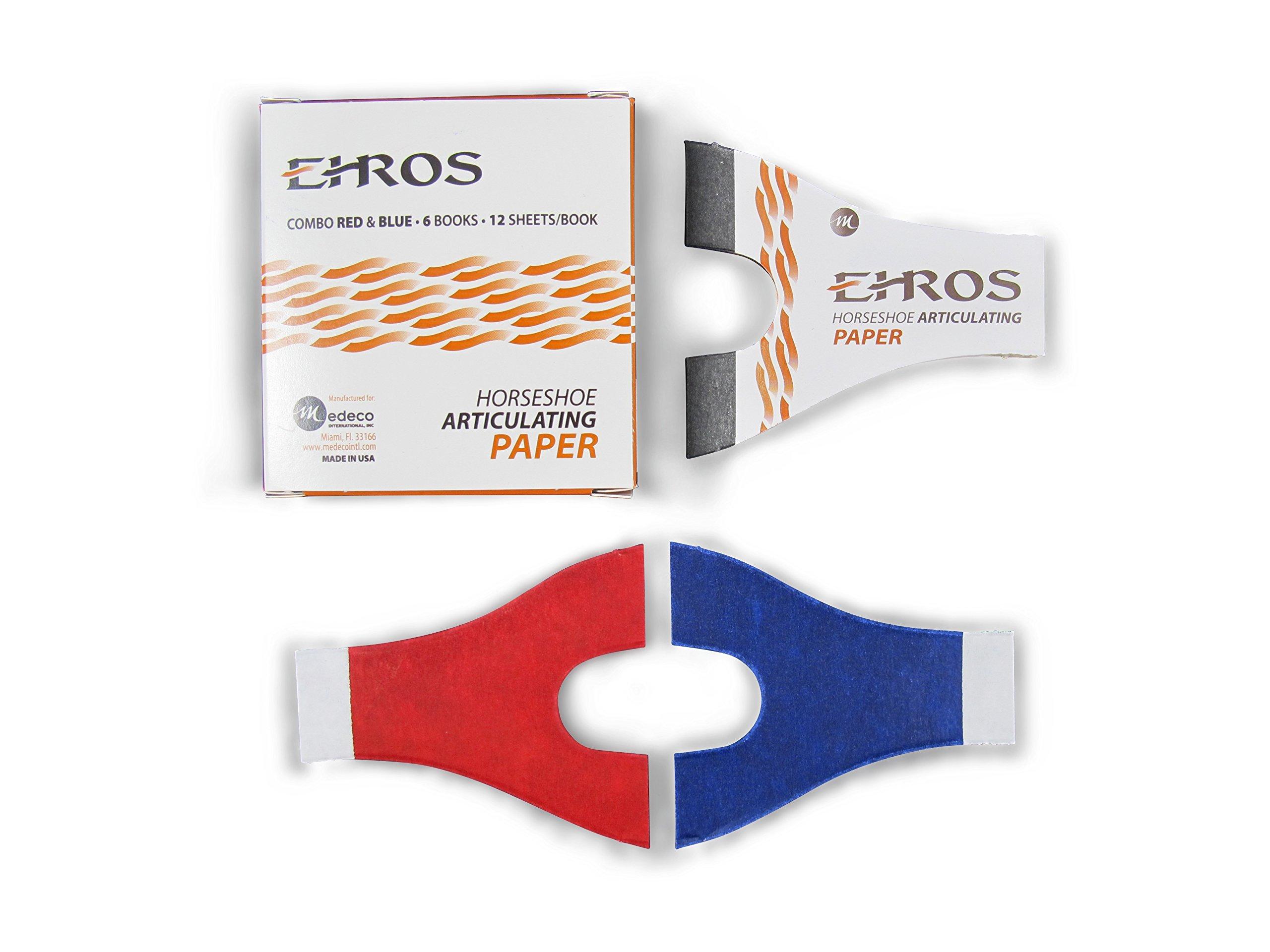Ehros Horseshoe Articulating Paper, Red/Blue, 6 Books per Box, 12 Sheets per Book (Pack of 72)