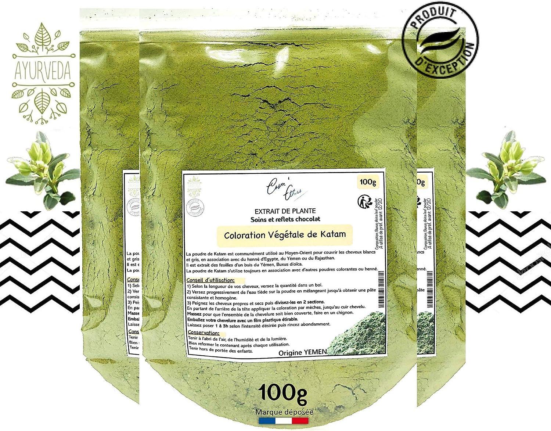 Tinte para el cabello en polvo vegetal Katam de Yemen 100g CosmEthics® hace que el cabello sea suave elástico y brillante gracias al estuche con ...