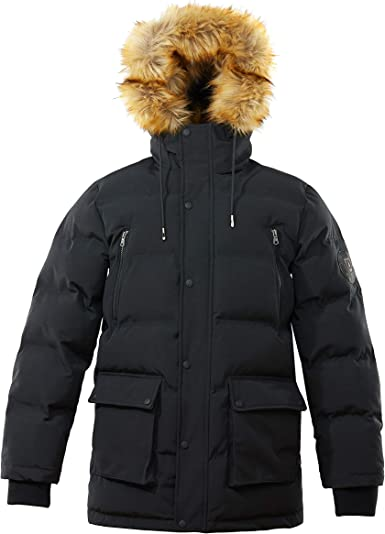BYWX Men Thick Quilted Faux Fur Lined Winter Jacket Coats