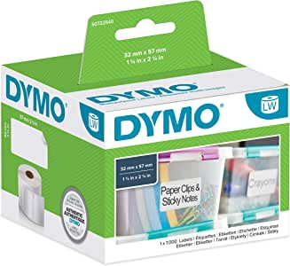 Dymo LW Multi-Purpose Labels, 32mm x 57mm, Roll of 1000 Easy-Peel Labels, Self-Adhesive, for LabelWriter Label Makers, Authentic