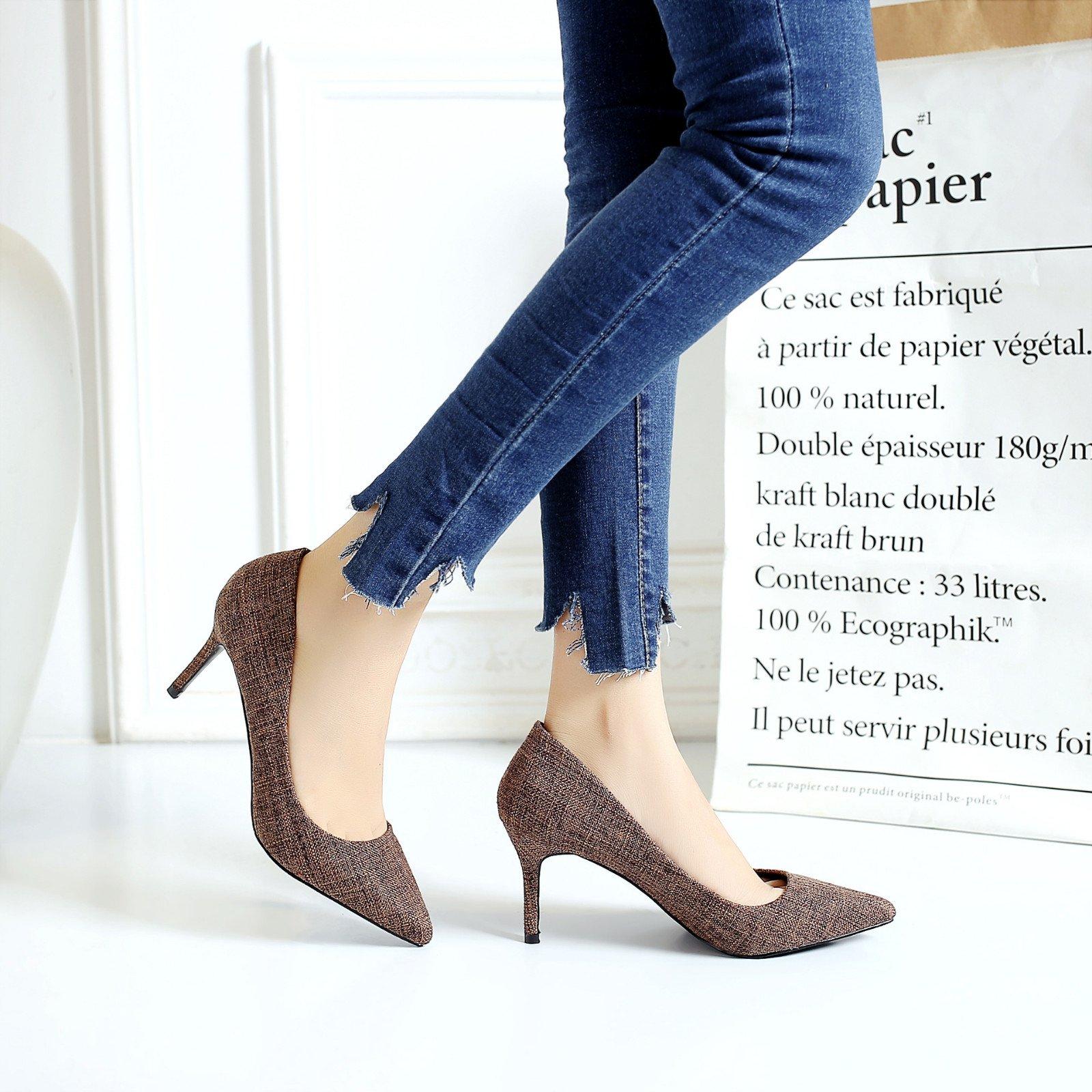 High heel shoe tip burlap fine with high heel temperament shallow mouth, khaki, 34 by YLSZ-High heels (Image #3)