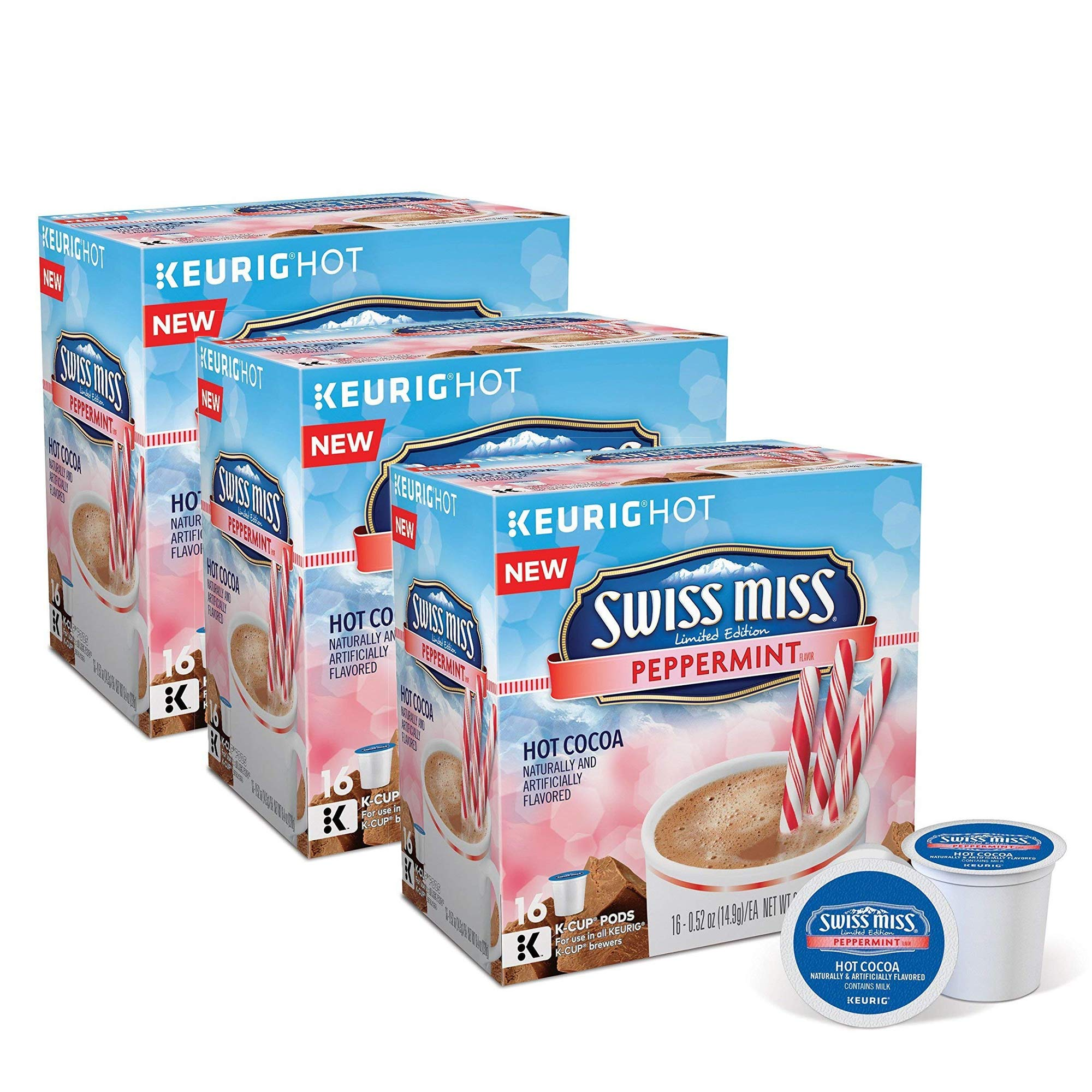 Swiss Miss Peppermint Chocolate Hot Cocoa, Keurig K-Cups, 16 Count (pack of 3)