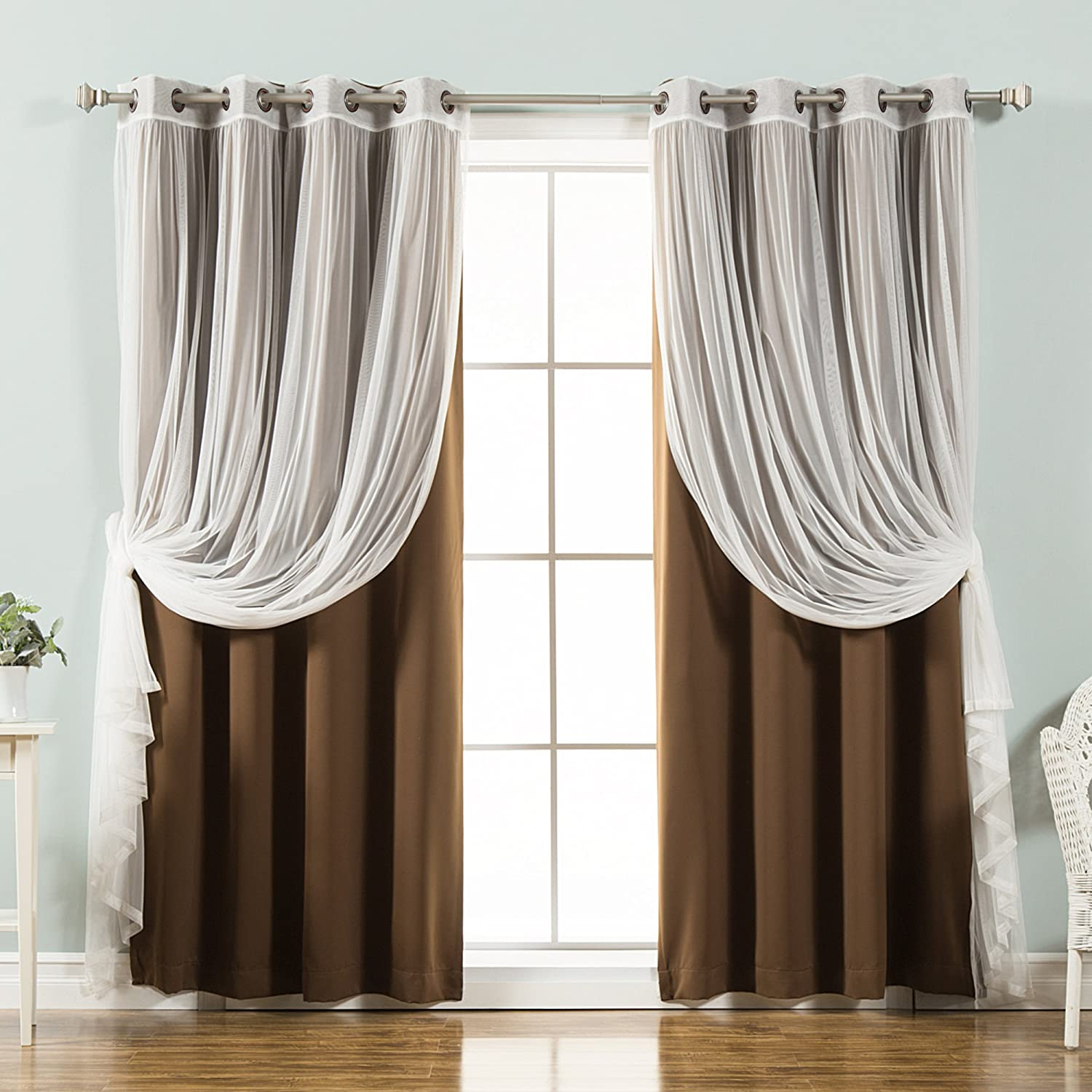 Best Home Fashion Mix & Match Tulle Sheer Lace & Blackout Curtain Set - Antique Bronze Grommet Top - Chocolate