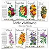Assortment of 8 Edible Wildflower Seed Packets (8 Individual Packets) Non-GMO Seeds by Seed Needs
