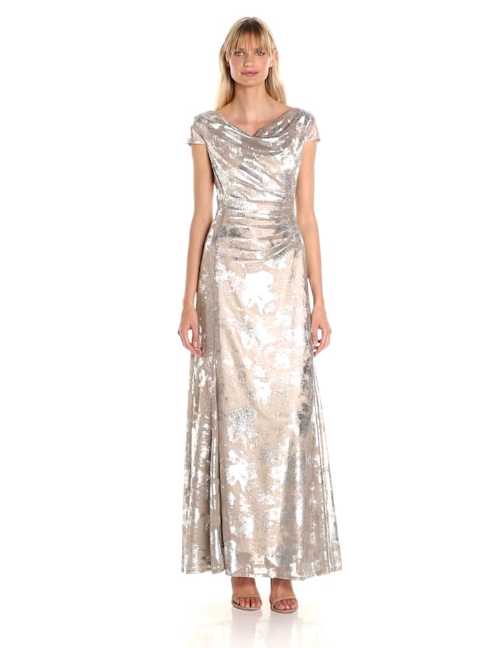 Tahari by Arthur S. Levine Women\'s Cowl Neck Burnout Gown at Amazon ...