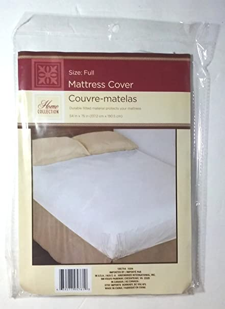 "Full Size Fitted Mattress Cover White 54"" x 75"" Waterproof Protection"