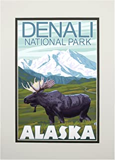 product image for Denali National Park, Alaska - Moose Scene (11x14 Double-Matted Art Print, Wall Decor Ready to Frame)